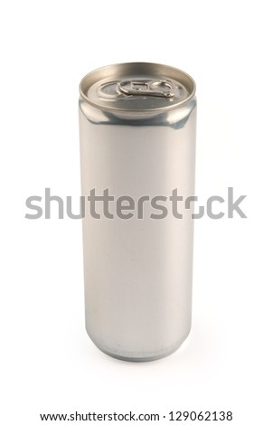 White aluminum can on white background. 250 ml.