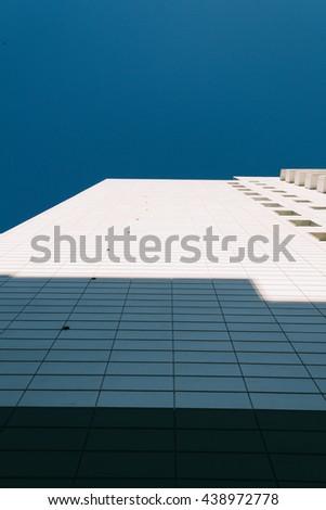 white aluminum cladding of the building - stock photo