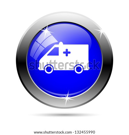 White ambulance icon button on red background - stock photo