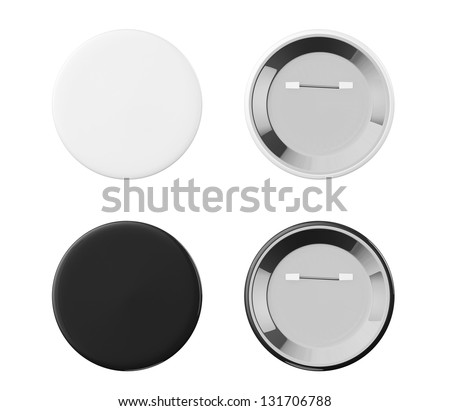 White and Black Badges front and back view on a white background - stock photo