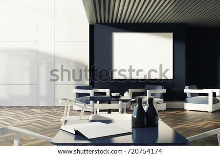white and black cafe interior with a wooden floor gray square tables and white chairs - Cafe Interior Design Ideas