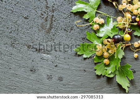 White and black currants with leaves on a dark background, top view, food background, selective focus