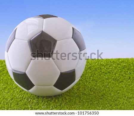 White and black football over grass and blue sky - stock photo