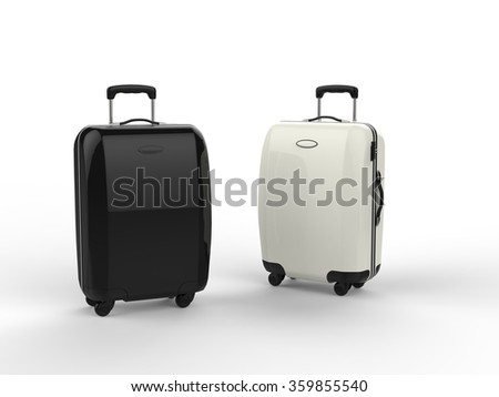 White and Black luggage suitcases - stock photo