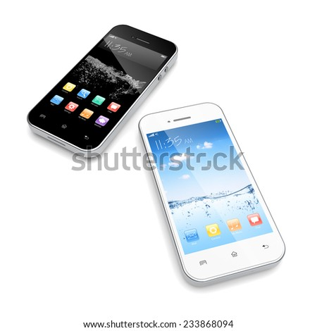 White and black mobile smart phone with colorful apps on a screen.  - stock photo