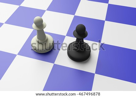 White And Black Pawn On A Blue Chess Board, 3d illustration