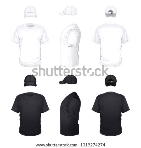 white and black T-shirts and caps on a white background