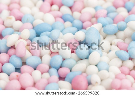 white and blue anise seed sprinkles served in Holland when a baby is born
