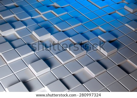 White and blue background of regularly shaped wooden blocks