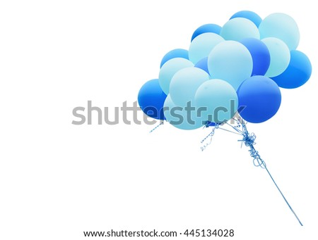 White and blue balloons with ribbon isolated on the white background. This has clipping path.          - stock photo