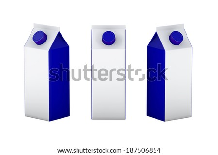 White and blue blank  box packaging for milk   juice or another kind of liquid , clipping path included. ready for your design branding and artwork