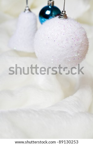 White and blue christmas toys - stock photo