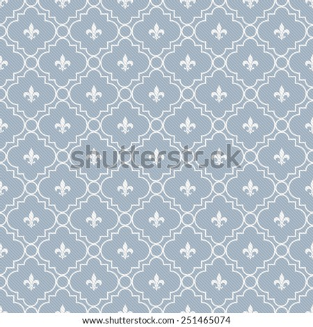 White and Blue Fleur-De-Lis Pattern Textured Fabric Background that is seamless and repeats - stock photo