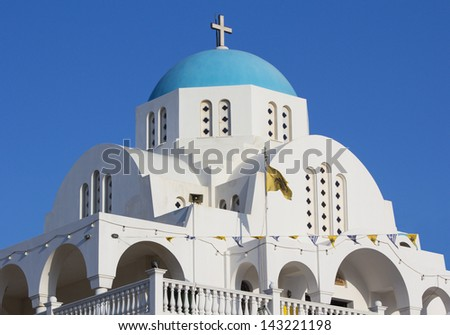 White and blue orthodox church, Profitis Ilias, in Keratea, Greece. - stock photo