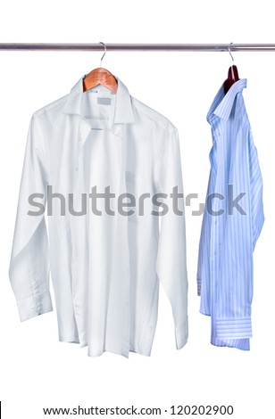 white and blue shirts on wooden hanger isolated on white - stock photo