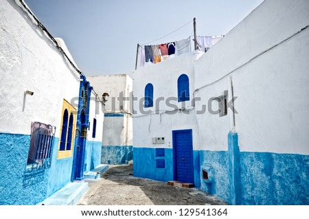 White and blue streets in the Kasbah des Oudaias, Rabat, Morocco - stock photo