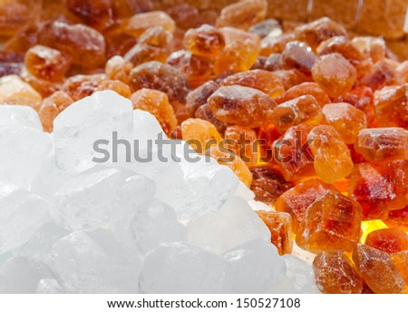 White and brown candy sugar
