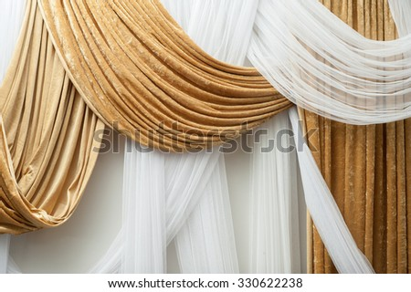 White and brown flannel  curtain decorate in the wedding hall for backdrop - stock photo