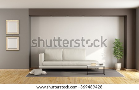 White and brown living room with sofa on carpet - 3D Rendering - stock photo
