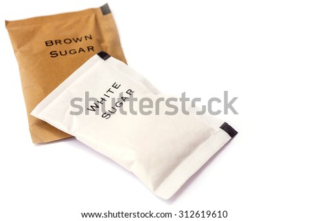 white and brown sugar bag on white background.  - stock photo