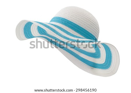 white and cyan beach hat on white background - stock photo