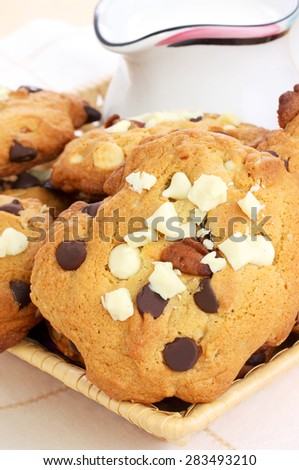 White and dark chocolate cookies served with pitcher of milk - stock photo