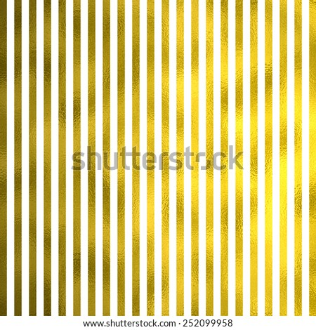 White and Gold Metallic Faux Foil Stripes Background Striped Texture - stock photo