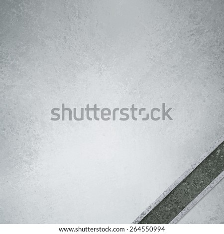 white and gray background with dark gray diagonal ribbon in corner with room for typography or text, has vintage grunge background texture