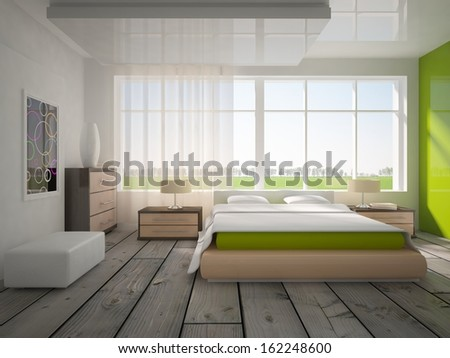 white and green bedroom  - stock photo
