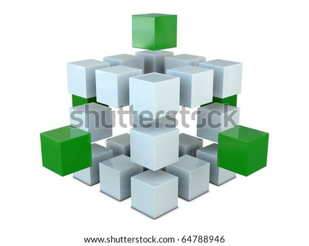 White and green boxes isolated on white background