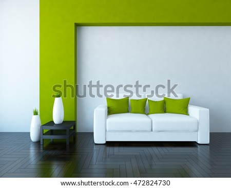 white and green empty interior with a white sofa and vases 3d illustration