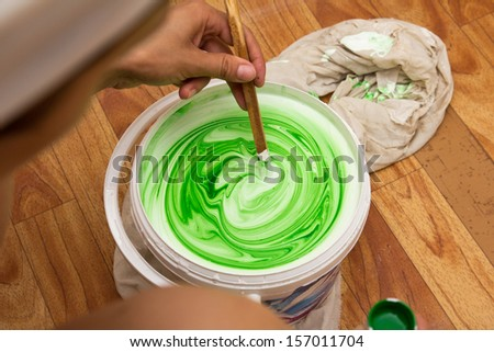 white and green emulsion - stock photo