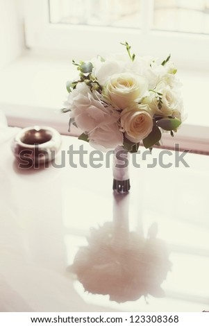 white and green  wedding bouquet - stock photo