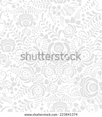 White and grey elegance seamless pattern in Russian style gzhel