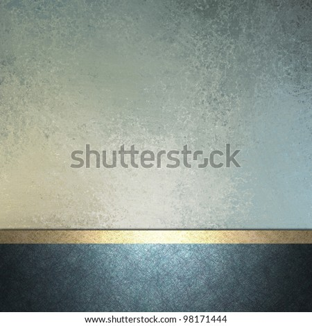 white and light and dark blue background with gold trim ribbon layout decoration for sign or template card with copy space and vintage grunge texture and soft faded pastel color for Easter - stock photo