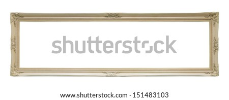 White and long classic frame isolated on white background