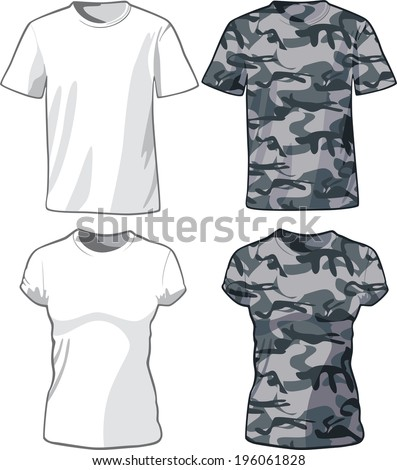 White and Military Shirts front view template. Raster version - stock photo