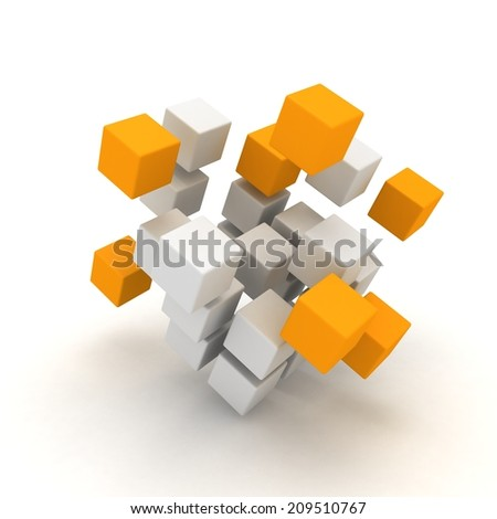 White and orange cubes structure