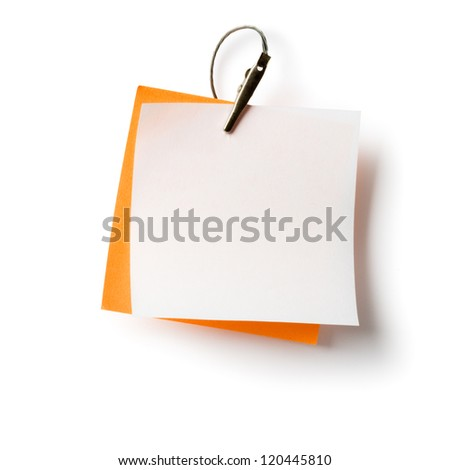 White and orange notepads with crocodile clip on white, clipping path included - stock photo