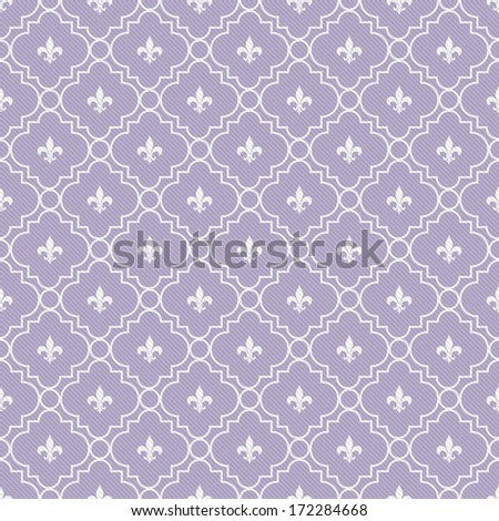 White and Pale Purple Fleur-De-Lis Pattern Textured Fabric Background that is seamless and repeats - stock photo