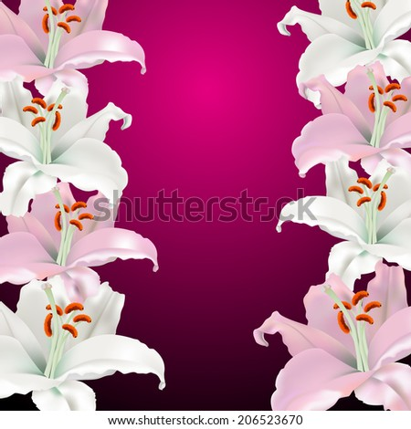 white and pink lilies on a claret background