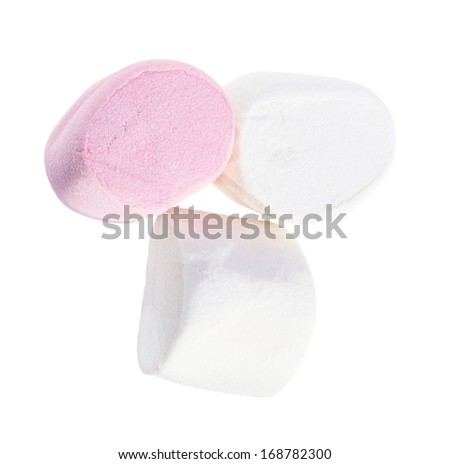 White and pink marshmellow isolated on white background.