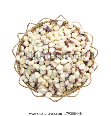 White and purple corn seeds  isolated on white background - stock photo
