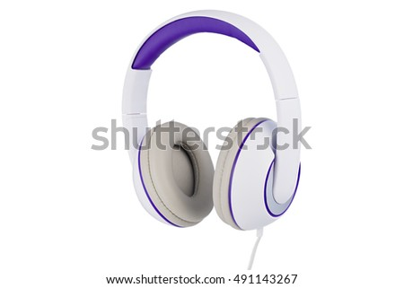 White and purple padded headphones right side isolated on white background