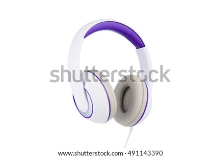 White and purple padded headphones 3/4 vew isolated on white background