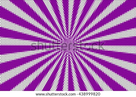 White and purple rays from the middle with hexagonal pattern