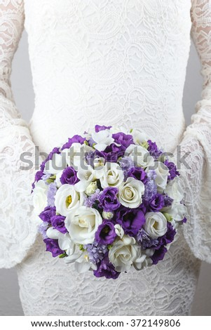 White And Purple Wedding Bouquet Of Roses Freesias Lisianthus Flowers