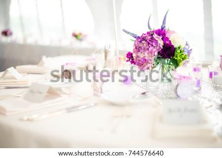 White Purple Wedding Table Setting Stock Photo 744576640 - Shutterstock