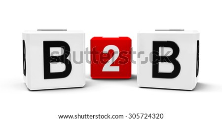 White and red cubes - business to business - isolated on white, three-dimensional rendering - stock photo