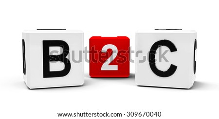 White and red cubes - business to customer - isolated on white, three-dimensional rendering - stock photo